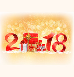 New year background with a 2018 and gift boxes vector