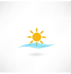 Sun with sea wave icon vector