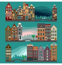 City Streets with Old Buildings vector image vector image