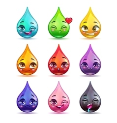 Cute cartoon colorful drop characters vector image vector image