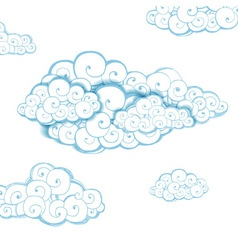 Decorative background with clouds Sketch vector image