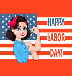 labor day poster pop art strong woman with usa vector image vector image