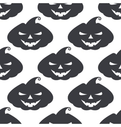 monochrome pattern pumpkin with scary face vector image vector image
