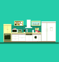 nobody cartoon kitchen room interior vector image