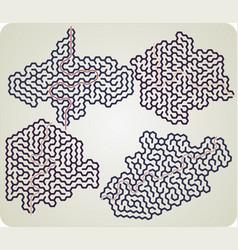 set of hexagonal maze vector image vector image