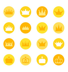 set of royal crowns on color background vector image vector image