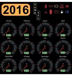 2016 year calendar speedometer car vector image