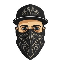 A guy in bandana with pattern vector