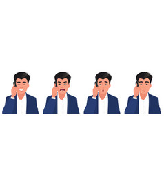 a man is talking on phone with different vector image
