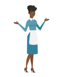 african confused cleaner with spread arms vector image