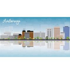 Anchorage alaska skyline with grey buildings vector