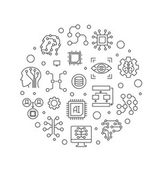 artificial intelligence concept line vector image
