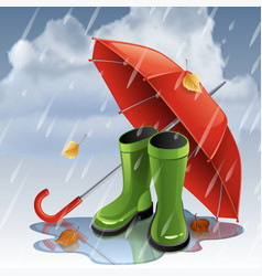 autumn background with red umbrella and green vector image