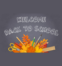 back to school chalkboard leaves supplies vector image