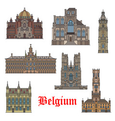 belgian travel landmarks icon for tourism design vector image