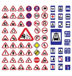 Big traffic signs set vector