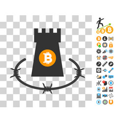 Bitcoin barbwire bulwark icon with bonus vector