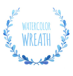 blue watercolor authentic stylized wreath vector image