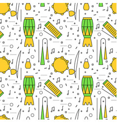 Brazilian capoeira music instruments pattern vector
