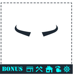 buffalo horns icon flat vector image