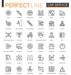 Car repair service thin line web icons set vector