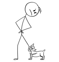 cartoon angry man with small aggressive dog or vector image