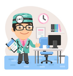 Cartoon doctor physician in office vector