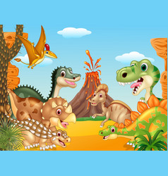 cartoon happy dinosaurs with volcano vector image