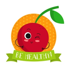 Cherry cute fruit character badge vector