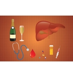 Cirrhosis with liver medicine alcohol vector