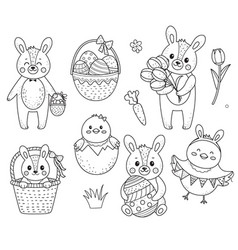 collection of cute easter chicken and bunny vector image