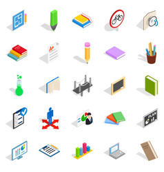 College house icons set isometric style vector