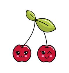 Color kawaii happys cherrys icon vector