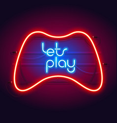 colorful neon lets play sign with game controller vector image