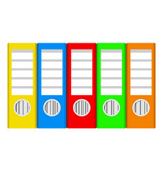 Colorful ring binders on white stock vector