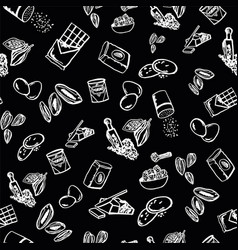 Cookie ingredients pattern on black background vector
