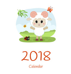 Cover calendar 2018 with sheep happy new year vector