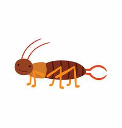 crawling earwig insect animal cartoon character vector image