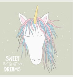 Cute magical unicorn head hand drawn elements for vector
