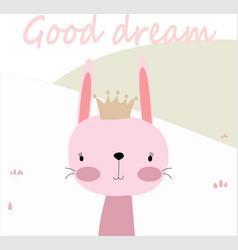 Cute spring summer rabbit bunny say good dream vector
