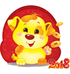 cute symbol of chinese horoscope - yellow dog vector image