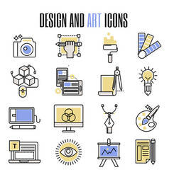 design and art icons in flat design artistic vector image