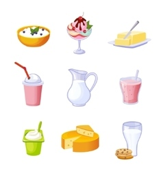 Different Dairy Products Assortment Set Of vector image