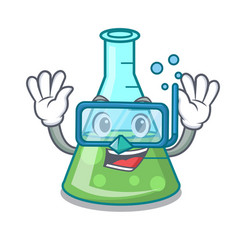 Diving science beaker character cartoon vector