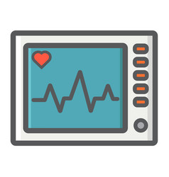 ecg machine filled outline icon medicine vector image