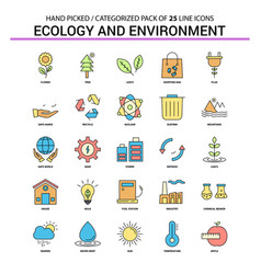 ecology and enviroment flat line icon set vector image