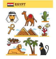 egypt travel tourism landmarks and culture tourist vector image