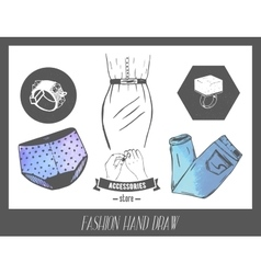 Fashion hand drawn sketch set of labels vector