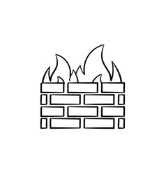 firewall hand drawn sketch icon vector image