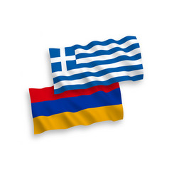 Flags greece and armenia on a white background vector